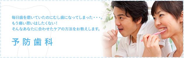 毎日歯を磨いていたのにむし歯になってしまった・・・。もう痛い思いはしたくない!そんなあなたに合わせたケアの方法をお教えします。 予防歯科